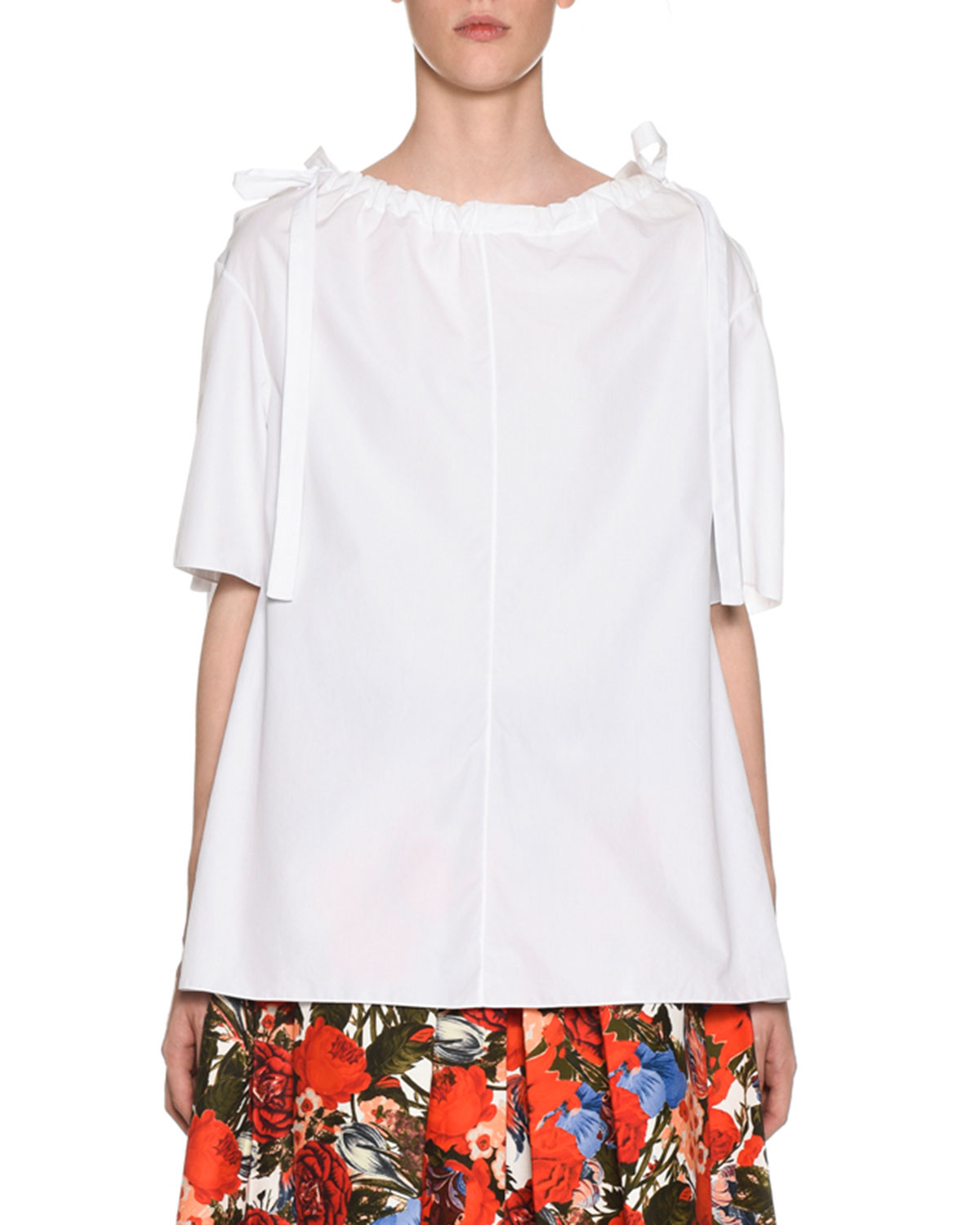 MARNI Oversized Tie-Detailed Gathered Cotton-Poplin Blouse in White
