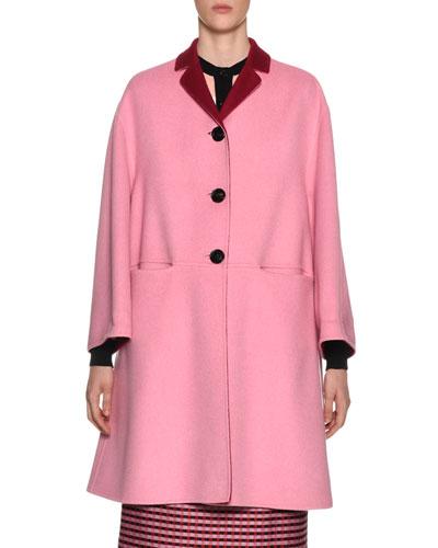 Reversible Button-Front Double-Face Wool-Cashmere Coat