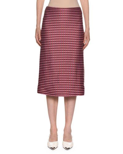 Checked-Knit Midi Pencil Skirt