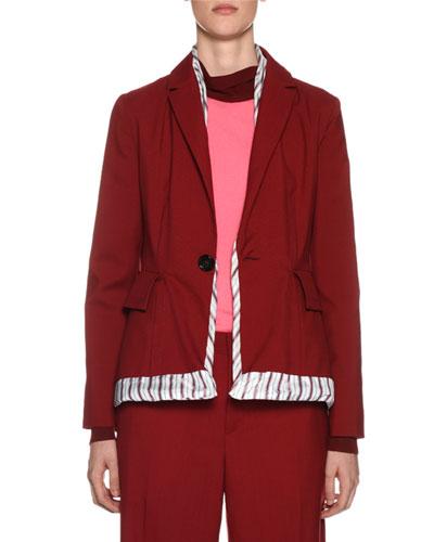 One-Button Wool Jacket w/ Striped Trim