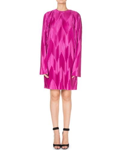 Long-Sleeve Zigzag Pleated Jersey Shift Dress