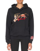 Givenchy Long-Sleeve Shrunken Leo Lion Graphic Hoodie