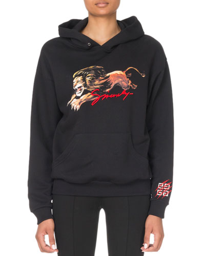 Long-Sleeve Shrunken Leo Lion Graphic Hoodie