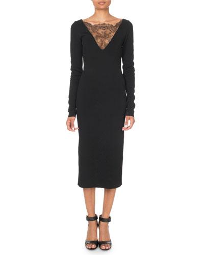 Long-Sleeve Lace-Trim Midi Dress