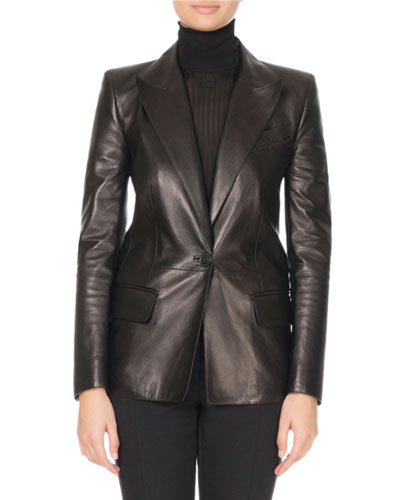 Single-Breasted Soft Leather Blazer