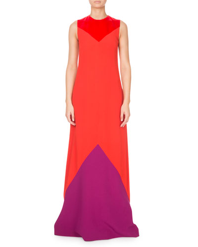 Sleeveless Colorblocked Crepe Gown