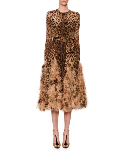 Long-Sleeve Leopard Print Chiffon Ostrich-Feather Hem Dress