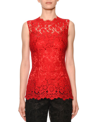 Sleeveless Cordonetto Lace Illusion Top