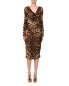 Dolce & Gabbana Long-Sleeve Ruched V-Neck Leopard-Print Dress