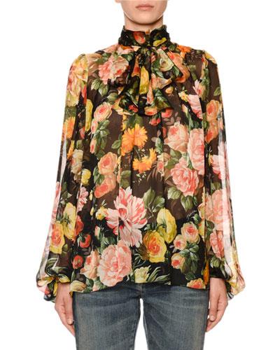 Scarf-Neck Blouson-Sleeve Floral-Print Silk Chiffon Blouse