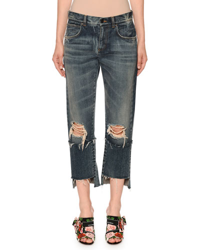 Mid-Rise Ripped Boyfriend-Fit Crop Jeans