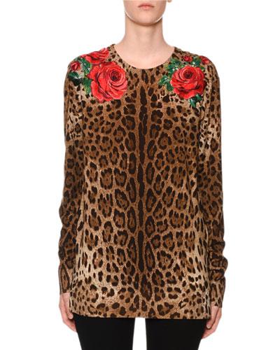 Long-Sleeve Rose & Leopard-Print Knit Sweater