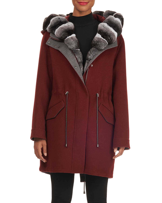 FABIO GAVAZZI Hooded Wool-Cashmere Parka Jacket W/ Detachable Vest & Chinchilla Trim in Red