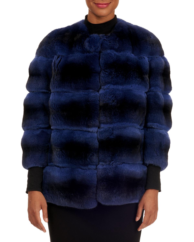 Horizontal Chinchilla Fur Jacket