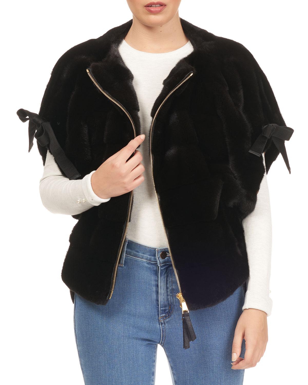 TSOUKAS Short Tie-Sleeve Mink Fur Jacket in Black