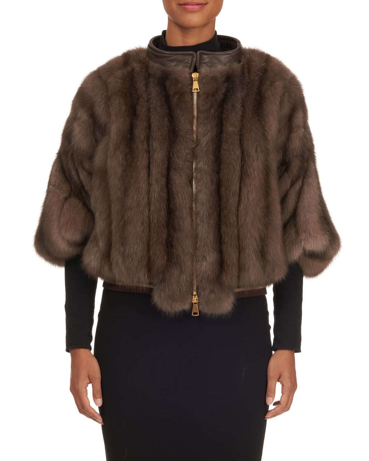 TSOUKAS Russian Sable Zip-Front Poncho Jacket in Brown