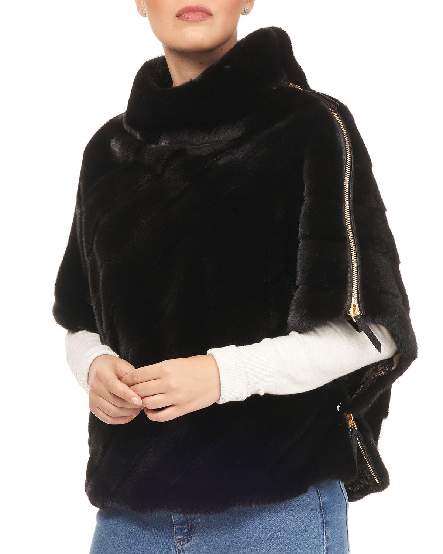 TSOUKAS Short Zip-Sleeve Mink Fur Jacket in Black