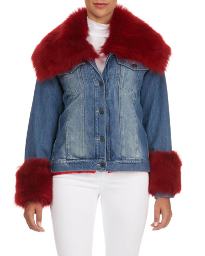 Lamb Fur Trim Denim Jacket