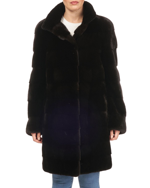 TSOUKAS Quilted Mink Fur Stroller Jacket in Black
