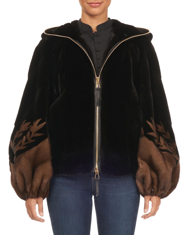 TSOUKAS Two-Tone Intarsia Balloon-Sleeve Fur Jacket in Black