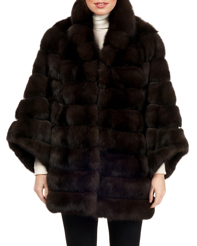 Horizontal Sable Fur Jacket