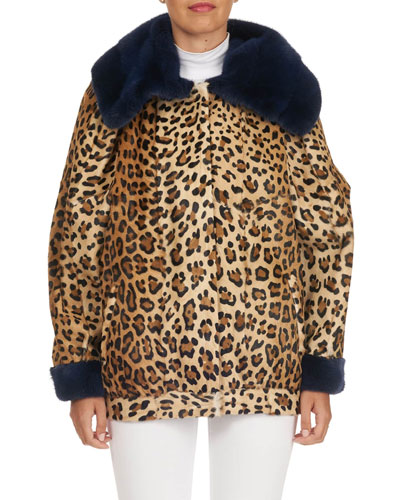 Leopard-Print Lamb Fur Jacket with Mink Trim