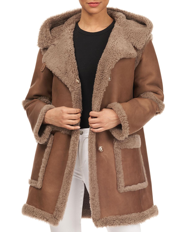 CHRISTIA Hooded Lamb Shearling Stroller Jacket in Beige