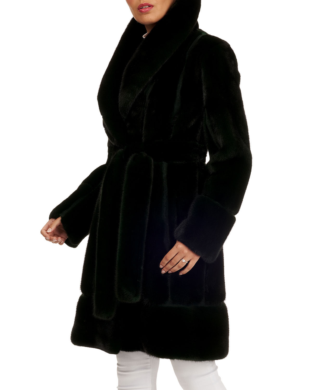 Mink Fur Stroller Coat w/ Suede Inserts