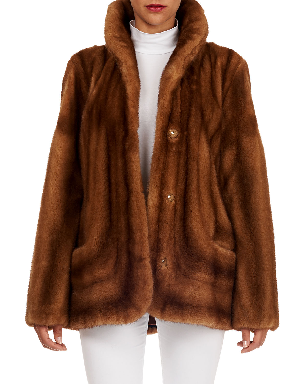 Directional Mink Fur Stroller Coat