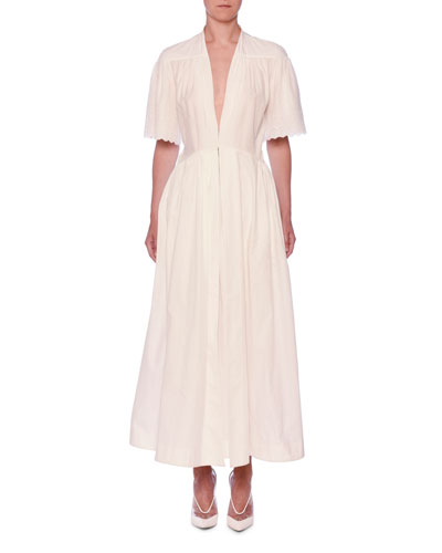 Quick Look. Stella McCartney · V-Neck Eyelet Embroidered Midi Dress.  Available in White 1c3551e4e