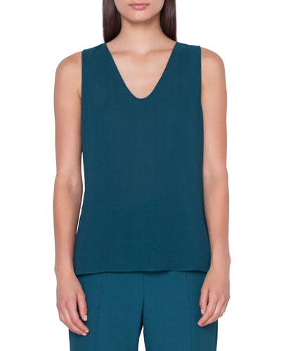 Sleeveless V-Neck Georgette Blouse