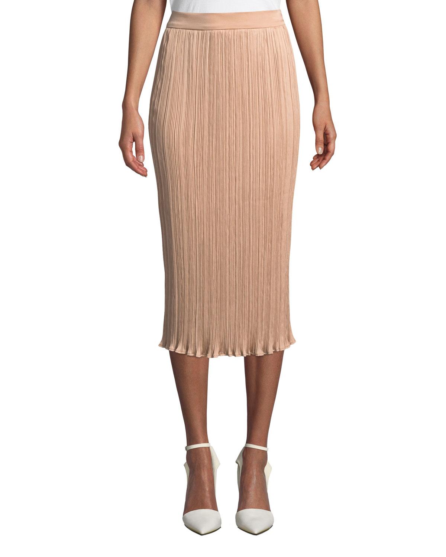 Emmy Slim Plisse Midi Skirt in Light Pink