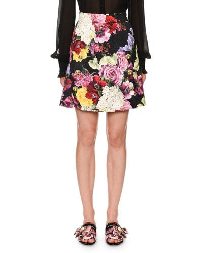Floral-Brocade Jewel-Button  Skirt