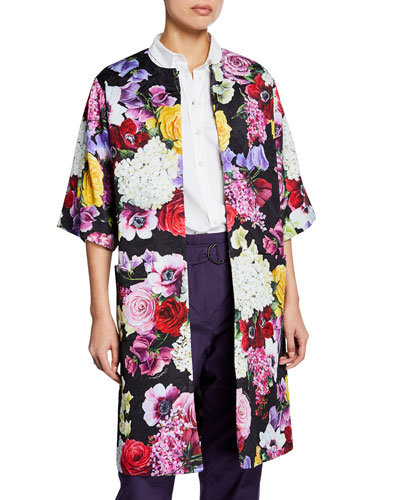 Floral Brocade Knee-Length Coat