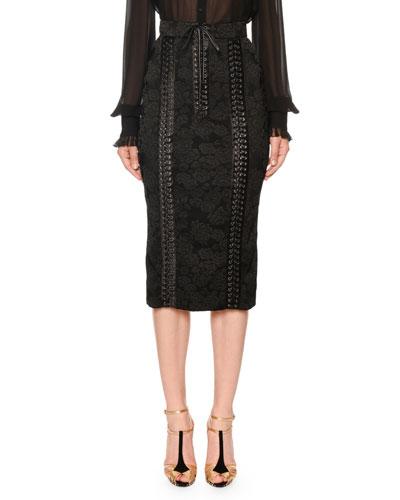 Lace-Up Jacquard Midi Pencil Skirt
