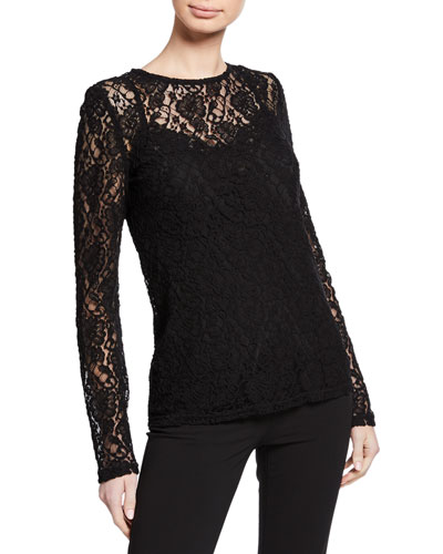 2d4564f7e3f Quick Look. Dolce & Gabbana · Long-Sleeve Crewneck Stretch-Lace Blouse.  Available in Black