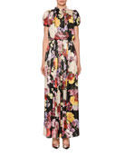 c7c6e2a5b5 Dolce   Gabbana Mock-Neck Puff-Sleeve Floral Gown