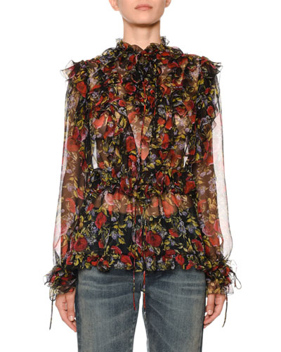 Ruffle Tie-Neck Long-Sleeve Floral-Print Silk Chiffon Blouse