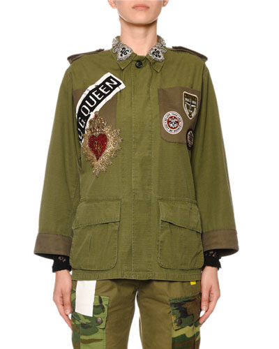 Patchwork Jeweled-Color Military Jacket