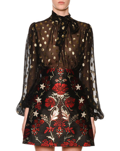 5a066089 Quick Look. Dolce & Gabbana · Long-Sleeve Tie-Neck Dotted Fil Coupe Chiffon  Blouse