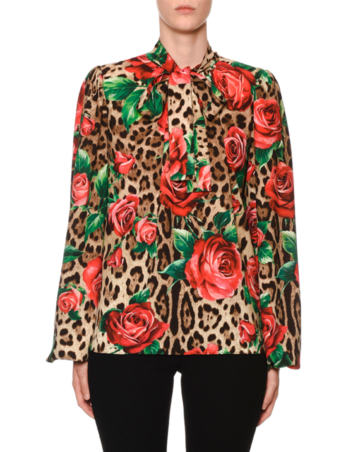 Tie-Neck Long-Sleeve Rose & Leopard-Print Charmeuse Blouse in Floral