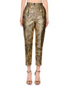 Dolce & Gabbana High-Waist Cropped Tapered-Leg Metallic