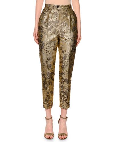 High-Waist Cropped Tapered-Leg Metallic Floral-Jacquard Pants