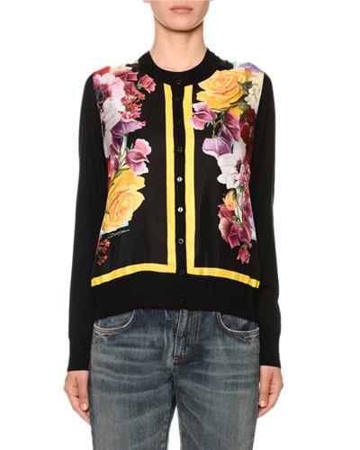 Floral-Print Silk-Front Cashmere Cardigan