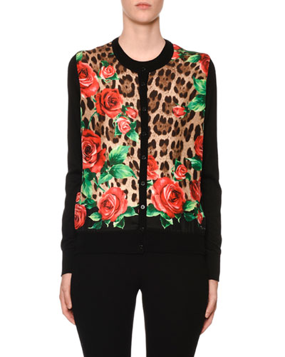 Rose & Leopard Silk-Front Cashmere Cardigan