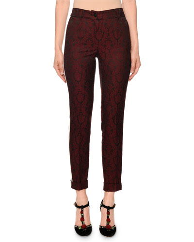 Ornamental-Jacquard Side-Stripe Cuffed Pants