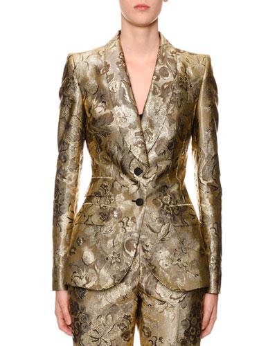 Two-Button Shawl-Collar Metallic Floral-Jacquard Jacket