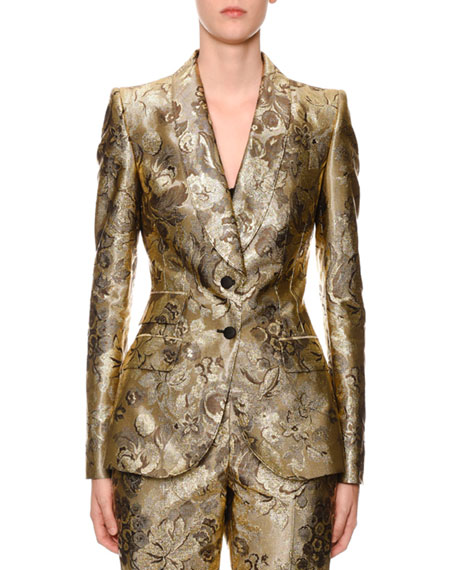 Dolce & Gabbana Two-Button Shawl-Collar Metallic Floral-Jacquard Jacket