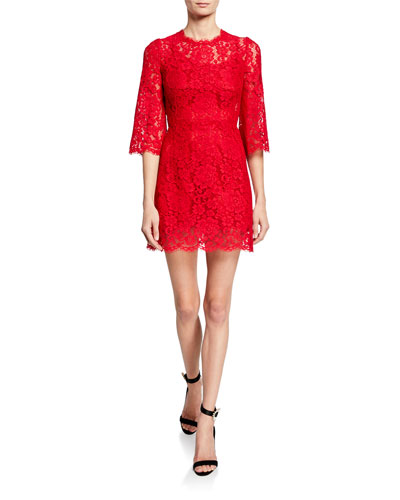 ff289c8a Quick Look. Dolce & Gabbana · 3/4-Flare Sleeve Cordonetto Lace Illusion  Dress