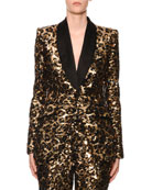 Dolce & Gabbana Sequined Leopard-Print Single-Breasted Blazer